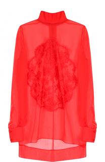 Шелковая прозрачная блуза с воротником-стойкой Givenchy