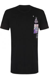 Удлиненная хлопковая футболка с вышивкой 11 by Boris Bidjan Saberi