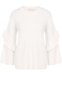 Шерстяной пуловер с оборками и круглым вырезом Tory Burch