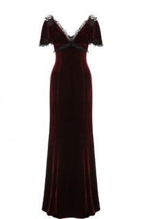 Бархатное платье-макси с оборками Dolce & Gabbana