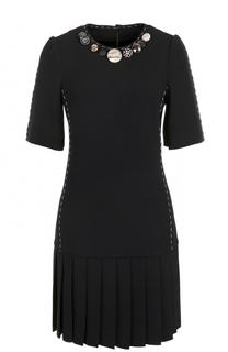 Мини-платье с юбкой в складку и коротким рукавом Dolce & Gabbana