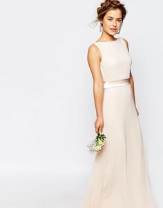 Сатиновое платье макси с бантом сзади TFNC Petite WEDDING - Розовый