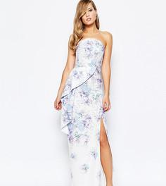 Платье-бандо макси с принтом, баской и разрезом True Violet - Мульти