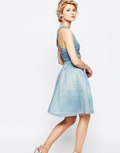 Пышная юбка миди для выпускного True Decadence Petite - Синий