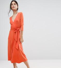 Креповое платье макси с запахом ASOS PETITE - Оранжевый