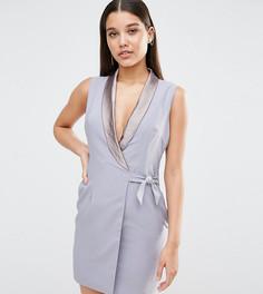 Платье-смокинг мини с глубоким вырезом NaaNaa - Серый