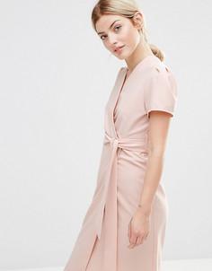 Чайное платье миди с запахом Alter Petite - Розовый