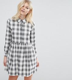 Свободное платье‑рубашка мини в клеточку ASOS PETITE - Мульти