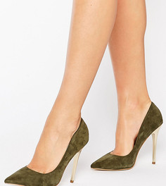 Замшевые туфли на золотистом каблуке Office Shop - Зеленый