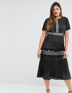 Кружевное платье миди Truly You - Черный