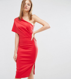 Платье миди на одно плечо с глубокими складками и открытой молнией ASOS TALL - Красный