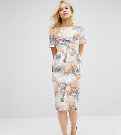 Строгое тканое платье с V-образным вырезом на спине и цветочным принтом ASOS PETITE - Мульти