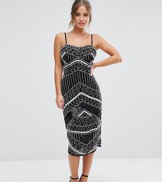 Платье-футляр с лифом в стиле корсета и отделкой Maya Petite - Черный
