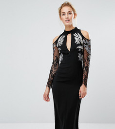 Платье-футляр миди с вырезами на плечах и вышивкой Hope & Ivy - Черный