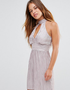 Плиссированное платье мини с чокером New Look Petite - Розовый