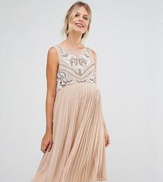 Короткое приталенное платье для беременных без рукавов с плиссированной юбкой Maya Maternity - Коричневый