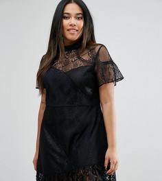 Кружевное платье мини с отделкой ASOS CURVE - Черный