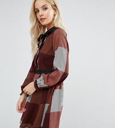 Платье в полоску с воротником и бархатной завязкой на горловине Glamorous Petite - Мульти