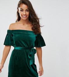 Бархатное платье с открытыми плечами Boohoo Petite - Зеленый