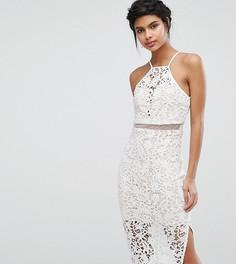 Кружевное платье миди с высокой горловиной Love Triangle - Белый