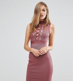 Бандажное платье с декоративной шнуровкой спереди WOW Couture - Коричневый