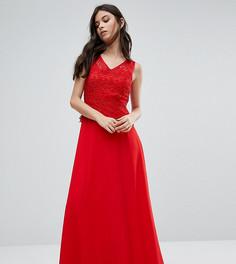 Платье макси с кружевной накладкой Yumi Petite - Красный