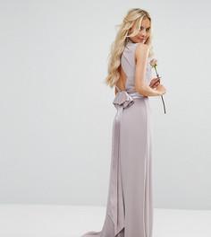 Платье макси с высоким воротом и бантом сзади TFNC Petite Wedding - Серый