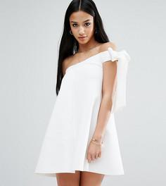 Платье-трапеция мини на одно плечо ASOS PETITE - Белый
