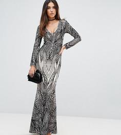 Платье макси с пайетками Club L - Черный