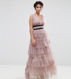 Платье макси с контрастной отделкой и юбкой с рюшами True Decadence Petite - Фиолетовый