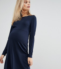 Короткое приталенное трикотажное платье с длинными рукавами Mamalicious - Темно-синий Mama.Licious
