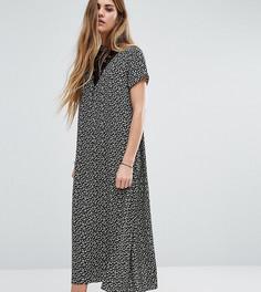 Платье миди с высокой горловиной, кружевной вставкой и цветочным принтом Reclaimed Vintage - Черный