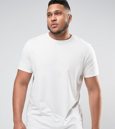 Светло-бежевая супердлинная футболка ASOS PLUS - Белый