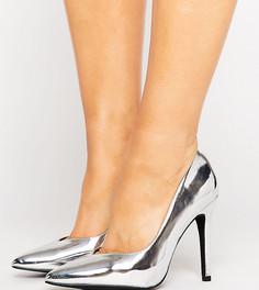 Туфли-лодочки цвета металлик с острым носком New Look - Серебряный