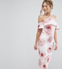 Платье миди с принтом роз True Violet - Мульти