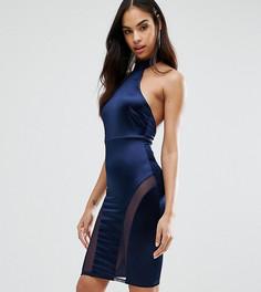 Платье-футляр миди без рукавов с высоким воротом NaaNaa - Темно-синий