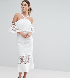 Кружевное платье миди с открытыми плечами Jarlo - Кремовый