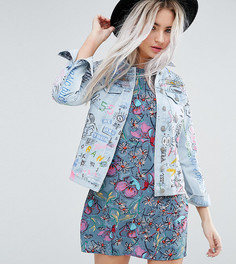 Джинсовая куртка с принтом в стиле граффити Glamorous Petite - Синий