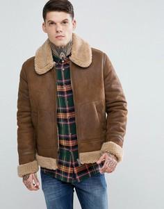 Светло-коричневая куртка с отделкой искусственным мехом ASOS - Коричневый