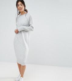 Вязаное платье с добавлением шерсти ASOS PETITE - Серый