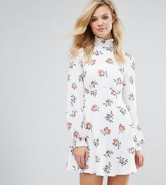 Короткое приталенное платье с высоким воротом и принтом Fashion Union Tall - Мульти