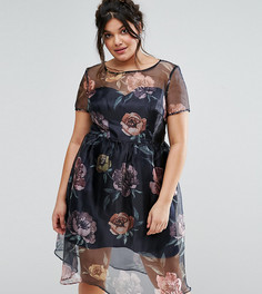 Платье миди с цветочным принтом Chi Chi London Plus - Мульти