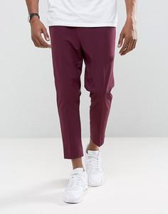 Суженные книзу укороченные брюки бордового цвета ASOS - Фиолетовый