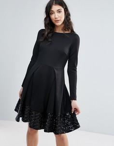 Приталенное платье с длинными рукавами и складками Traffic People - Черный