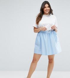Короткая расклешенная юбка из хлопкового поплина с карманами ASOS CURVE - Синий