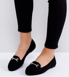 Лоферы для широкой стопы с пряжкой New Look - Черный