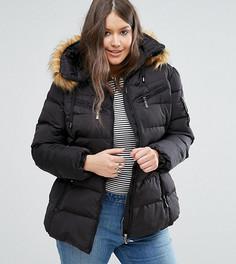 Дутая куртка с воротником из искусственного меха и поясом Koko Plus - Черный