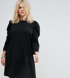 Креповое платье мини с пышными рукавами ASOS CURVE - Черный