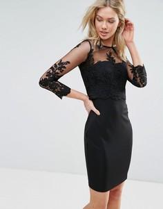 Платье с сетчатыми рукавами и кружевом Zibi London - Черный