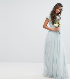 Платье макси для беременных с пайетками и тюлевой юбкой Maya Maternity - Зеленый